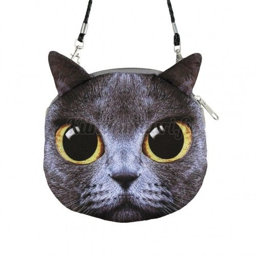 Kissa laukku, harmaa