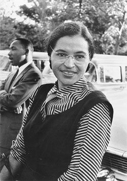 "Rosa Parks. Famous for standing up for Civil Rights, refusing to give up her seat on the bus in Montgomery, Alabama during the height of racial segregation in our nation in 1955. Her refusal led to her arrest, bus boycotts, protests and, eventually, legal actions that declared segregation laws to be unconstitutional. ""Racism is still with us. But it is up to us to prepare our children for what they have to meet, and, hopefully, we shall overcome."" -Rosa Parks"