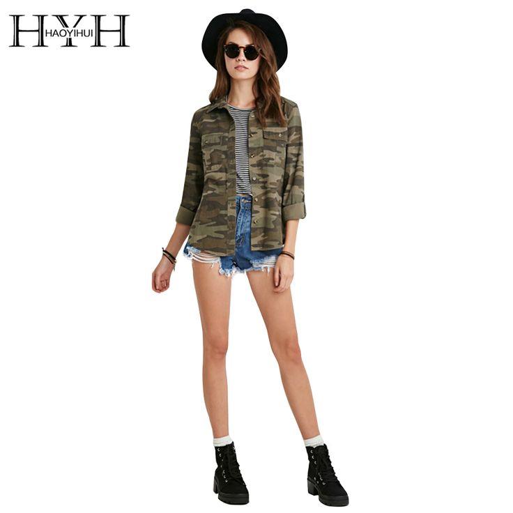 Hyh haoyihui 2017 gloednieuwe lente & zomer casual fashion vrouwen camouflage jas schede dispositie bovenkleding vogue dames jas