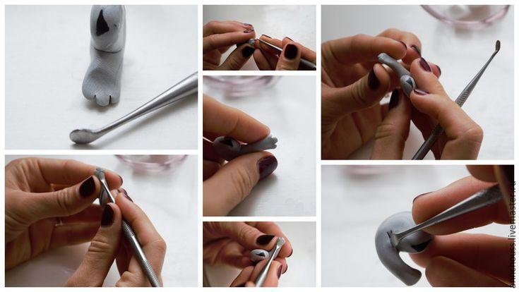 Когда вы прорежете пальчики, лапку нужно будет слегка покатать между пальцев, тем самым  она вытянется и станет более реалистичной.