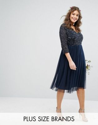 Bridesmaide  - Lovedrobe Luxe 3/4 Sleeve V Neck Midi Dress With Delicate Sequin And Tulle Skirt