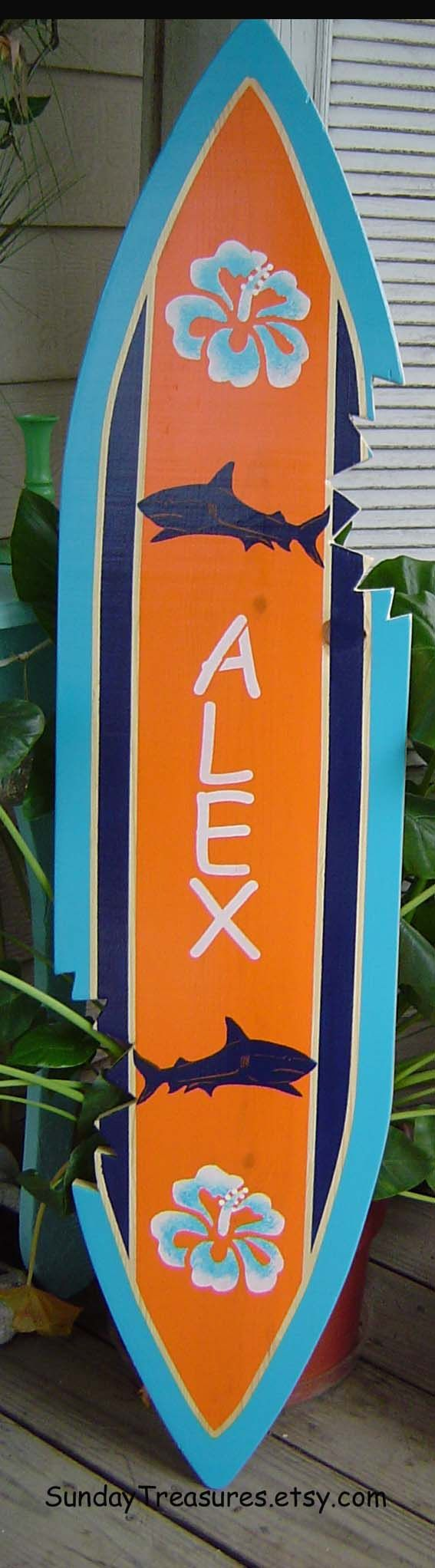4FT SHARK SURFBOARD Wall art Beach Sign with Shark Bites.  Navy Turquoise Orange. Hawaiian Surf Wall Decor. Personalized 150 Designs 3 Sizes. $99.00, via Etsy.