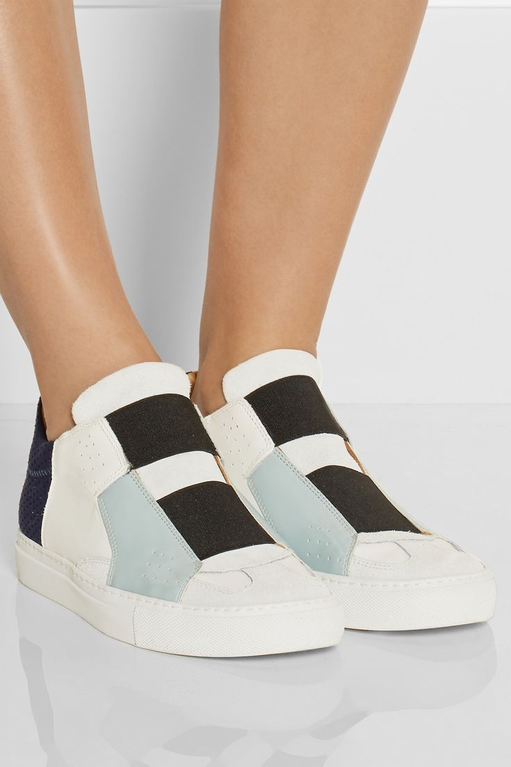 MM6 Maison MargielaPaneled leather and suede sneakersfront