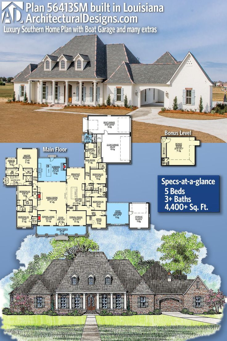 Plan 56413sm Luxury Southern Home Plan With Boat Garage And Many Extras Southern House Plans House Plans Farmhouse House Plans