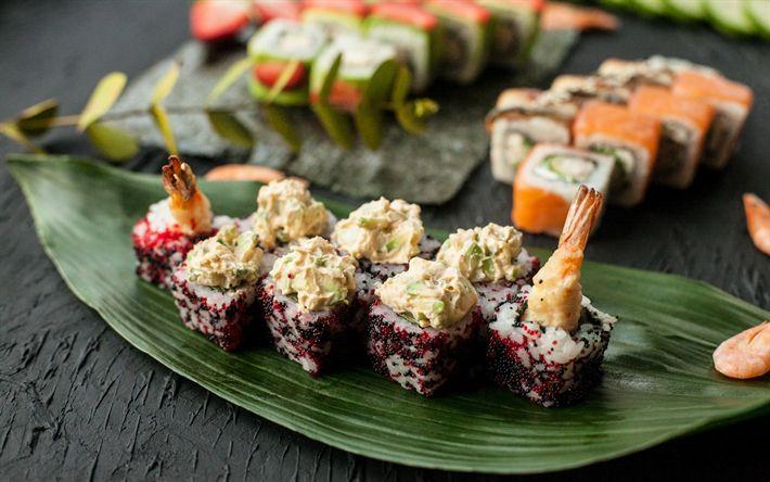 Lataa kuva Japanilainen ruoka, sushi, rullaa, äyriäiset, Japanilainen keittiö