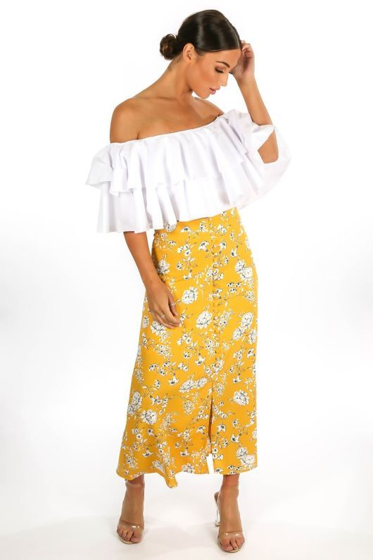 62e8163021ae Mustard Floral Printed Button Front Maxi Skirt Lucy Dresses, Full Length  Skirts, Floral Maxi