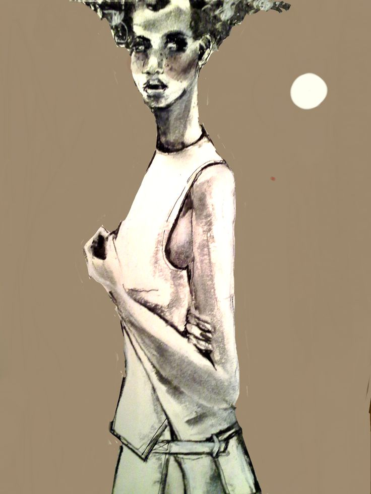 Fashion drawing, charcoal, photoshop