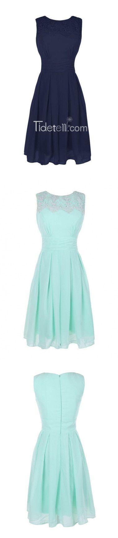 A-line Jewel Knee-length Dress