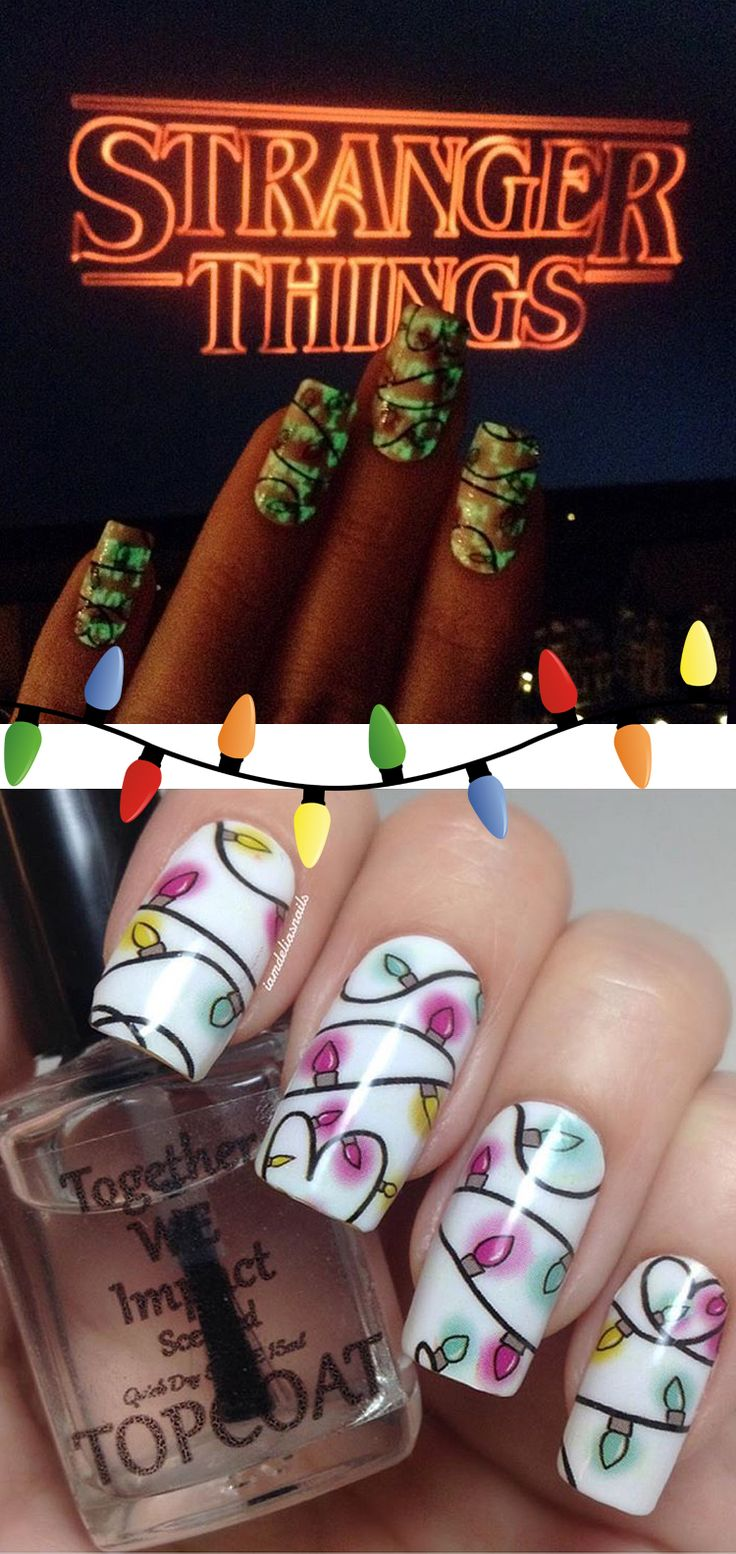 "What's this? A Stranger Things inspired message lurks behind our ""Holiday Lights"" nail wraps. IamDeliasNails on Instagram took these killer photos! These wraps were part of our Twisted Holiday Nexus and won the popular vote! Nexus ships two brand new Nerd Manicure designs to your doorstep every month! Sign up at ecboombox.com. Perfect for holiday nails with a twist! #EspionageCosmetics #NerdManicure #NerdNails #Nails #StrangerThings #Nailspiration #NailArt #HolidayNails"