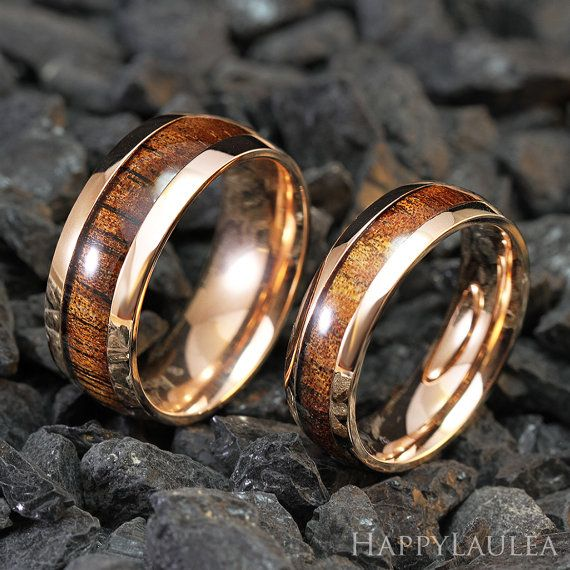 set of stainless steel ring with koa wood inlay 6mm by happylaulea wedding band ringswomens - Koa Wood Wedding Rings