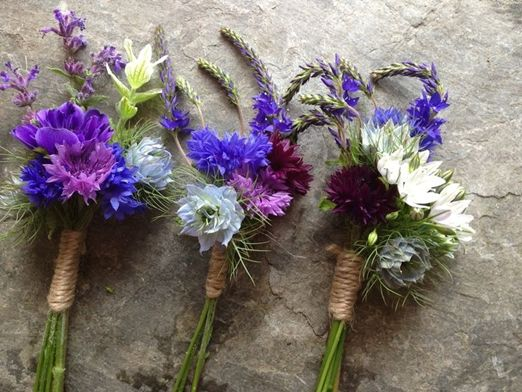 Seasonal summer buttonholes of Cornflowers, lavender and love-in-a-mist by The Garden Gate Flower Company // The Natural Wedding Company