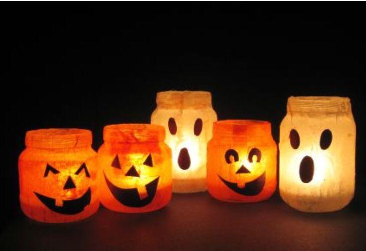 Windlichter Halloween Kürbis Transparentpapier