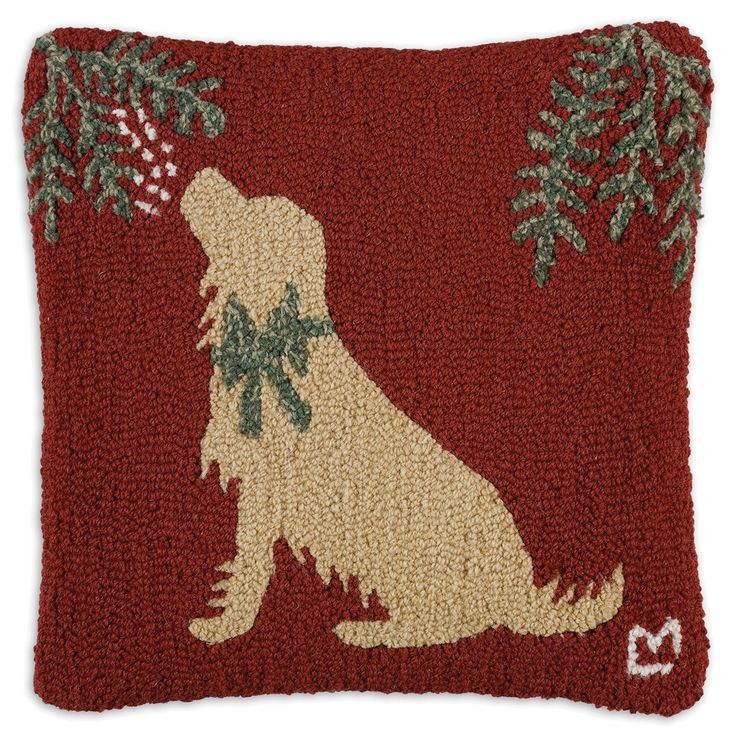 """Golden Mistletoe 18"""" Pillow"""