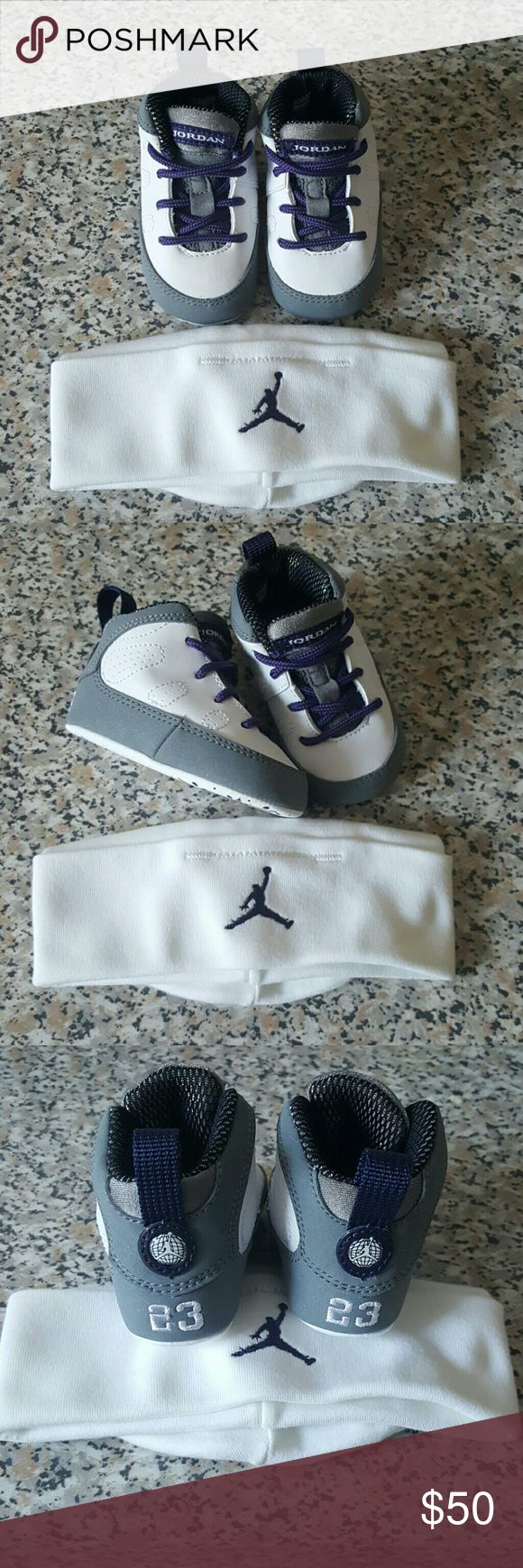 JORDAN'S for NEWBORNS sneakers / Baby Hat included Baby Jordan's white and grey/ purple Brand new never worn. Forgot I even had them. Makes a good gift for a baby shower or a new addition to the family..Negotiation in price a bit if bundling..Thank you hope this helps someone.. Jordan Shoes Sneakers