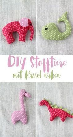 Sewing DIY stuffed animals with rattle – gift ideas for birth – simple sewing idea   – Nähen