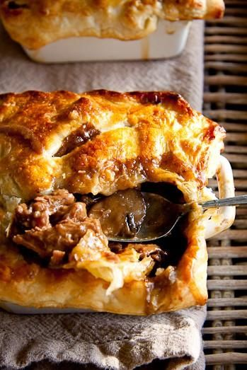 Steak and Mushroom Pot Pie Use 3# beef stew meat cut in bite size pieces 8oz baby bella mushrooms regular paprika instead of smoked added 2c. thawed frozen peas Topped with mashed potatoes instead of puff pastry