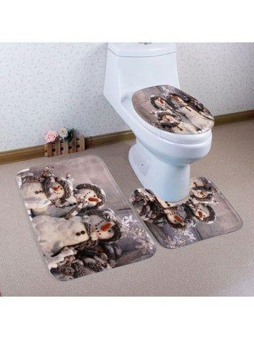 Winter Snowmen Pattern 3 Pcs Bathroom Toilet Mat