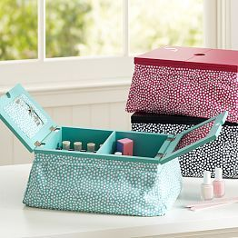 Love this manicure lap table with compartments for nail polish from PBTEEN!