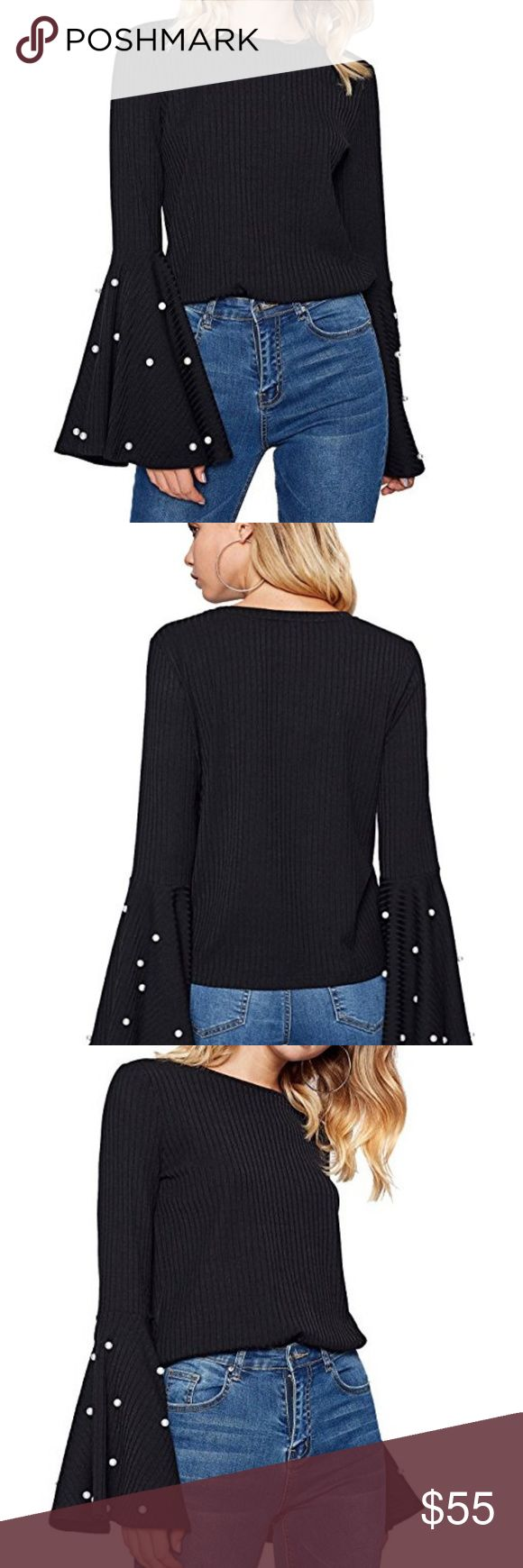 """New! Women's Black Cozy Top Elastic fabric, 35% Cotton. 60% Polyster, 5% Spandex. Round neck, big cuff, beading long sleeve Model is 5'9"""", Bust 31"""", Waist 23"""", Hip 34"""", Wearing size S Xcel Couture Tops"""
