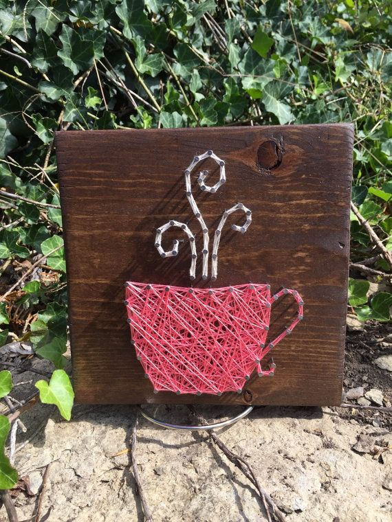 Coffee cup string art by JOCoriginalcreations on Etsy