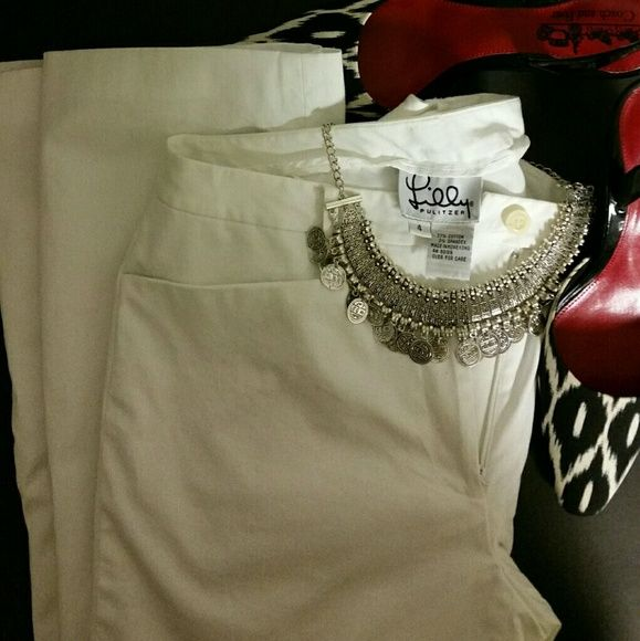 Lilly Pulitzer White Dress Pants These beautiful white Lilly Pulitzer dress pants are fully lined .The size is 4. Shoes not included. Sorry no trades. Lilly Pulitzer Pants Trousers
