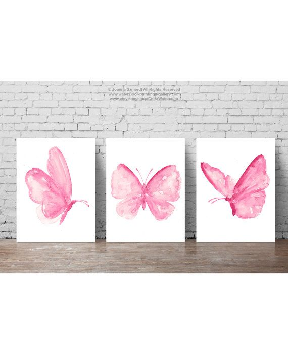 Watercolor Butterflies Set 3 Butterfly Pictures, Baby Pink Girls Nursery Room Decor, Abstract Animal Art Print Girl Wall Insects Decoration