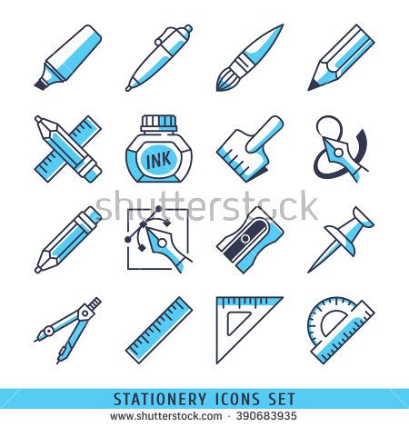 Stationery icons set lines blue vector illustration - stock vector