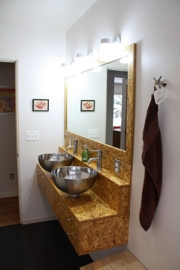 OSB paneling is used here for this sink top. See our use of this affordable material used in modern design. Risingbarn.com