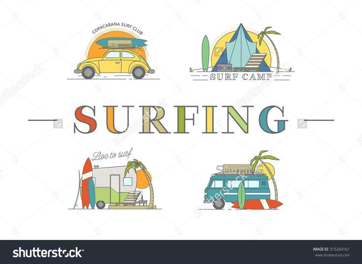 Vector line surfing illustrations.
