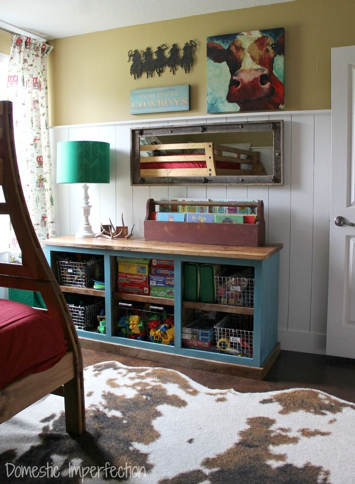Kids cowboy bedroom - lots of great DIY's and space saving ideas!