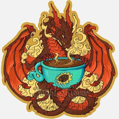Coffee Dragon Sticker By The Sixthleafclover