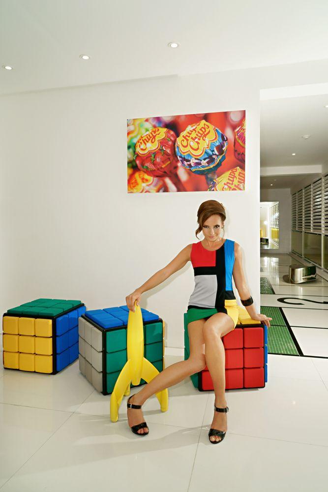 Mondrian and Rubiks cubes at Luna2 studiotel, Bali. Interior design and styling by Melanie Hall. #luna2 #popart #mondrian #melaniehalldesign