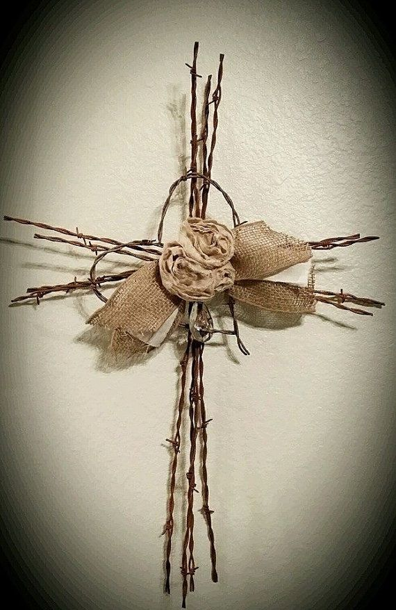 Handmade barbed wire cross barbed wire by PillowsPlusMuchMore, $30.00