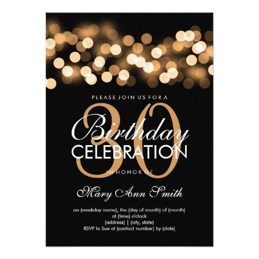 Elegant 30th Birthday Party Gold Hollywood Glam Card