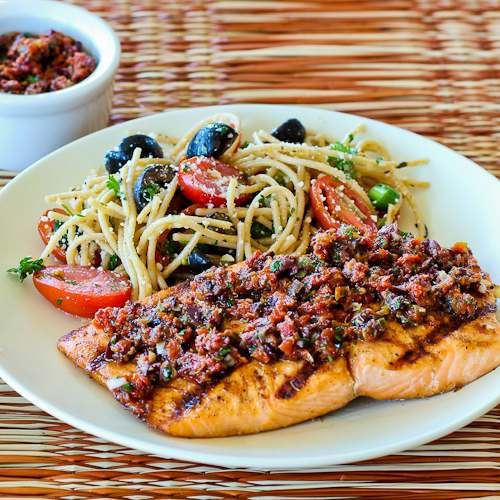 Grilled Salmon Recipe with Sun-Dried Tomato, Olive, Caper, and Parsley Relish; this Sun-Dried Tomato Relish turns grilled salmon into a total WOW! [from Kalyn's Kitchen] #Paleo #GlutenFree #LowCarb #SouthBeachDiet