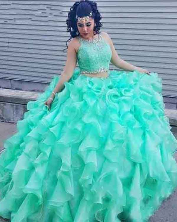 f9b00246a01 Delicate Mint Quinceanera Dresses Organza Ruffles Puffy Ball Gown 3 Piece Quince  Sweet 16 Dress  quinceaneradresses  quince  ballgowns  organza  ruffles ...