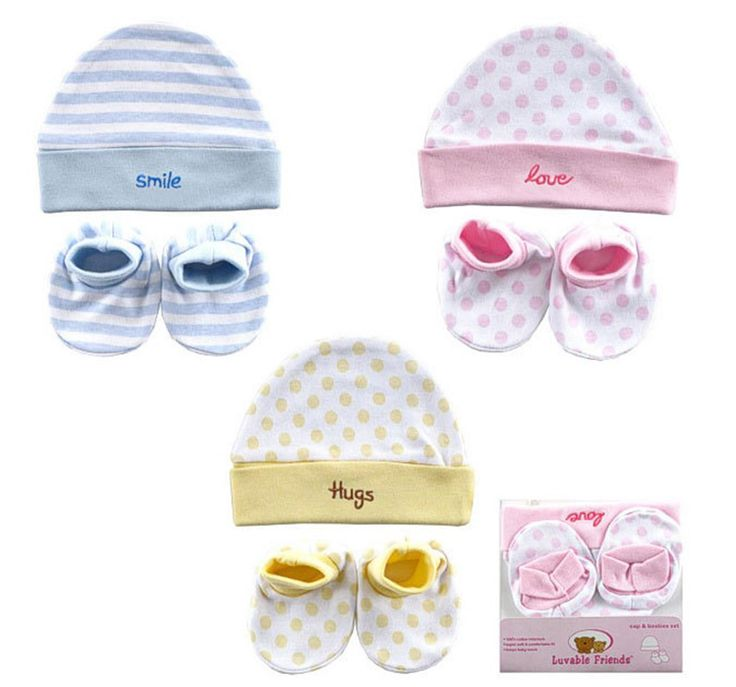 Baby Beanie & Bootie Set - pink, blue or yellow