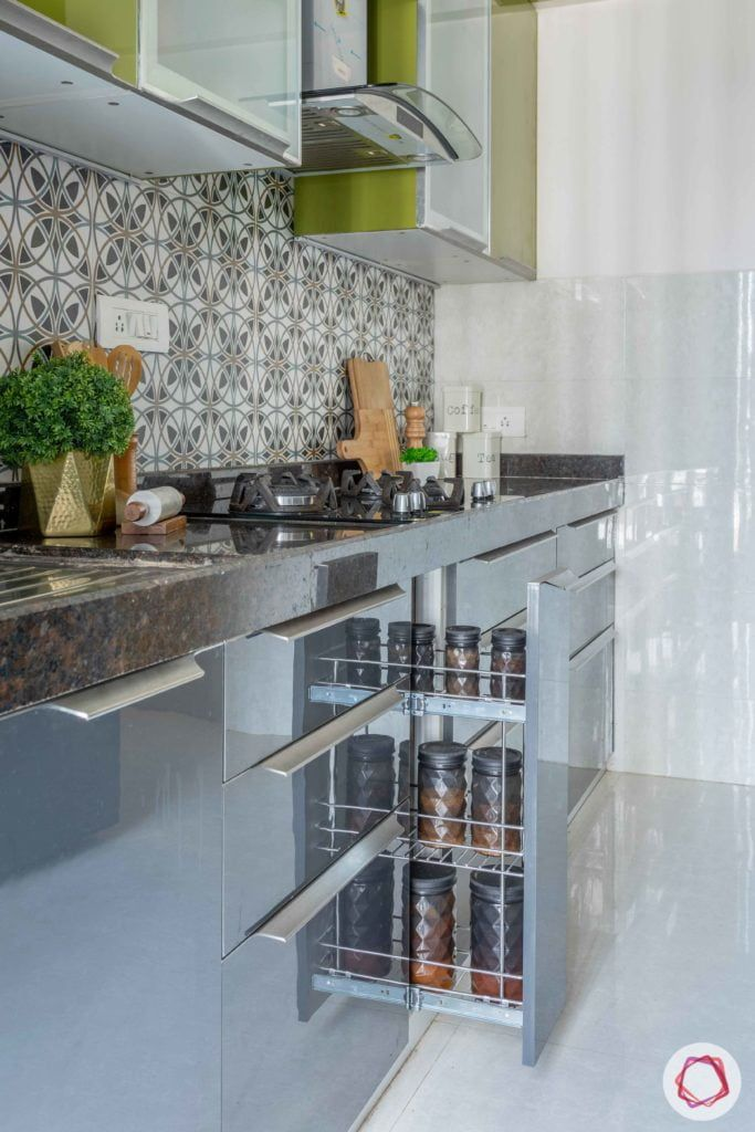 Prepare To Swoon Over This 2bhk Flat Interior Green Kitchen