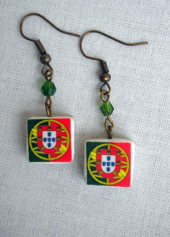 Portugal  Portuguese Flag Earrings by Atrio on Etsy,