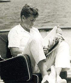 A great picture of Kennedy reading and relaxing. I so wish he'd had many, many more days such as this.