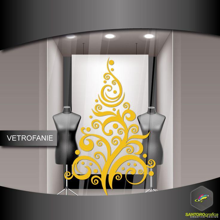 albero di natale stilizzato barocco - realizzato in vinile prespaziato e disponibile in varie misure e vari colori.