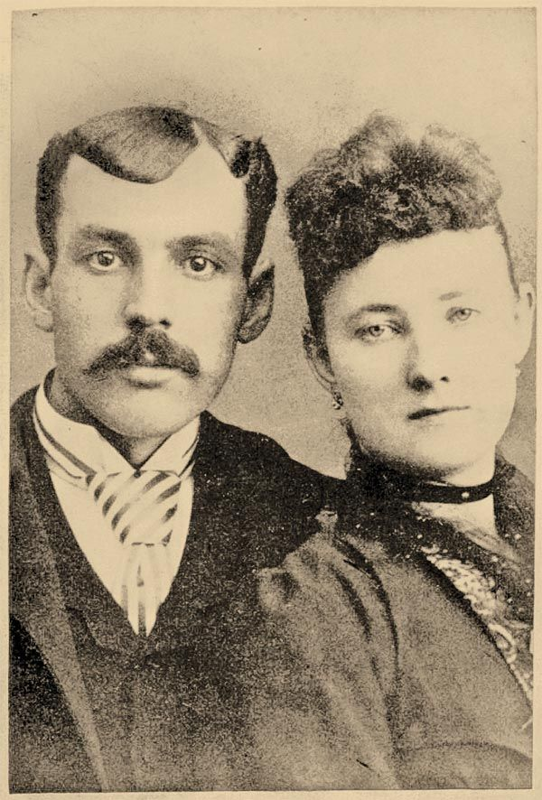 Marion Hedgepeth poses with his wife, Maggie (Graham), the sister of Bert Slye's wife. Maggie was an accomplice and was arrested after the Hedgepeth Four's robbery in Glendale, Missouri. Her alcoholic attorney passed a note from her to Marion to the authorities, and that's how they caught him.  – Courtesy Library of Congress –