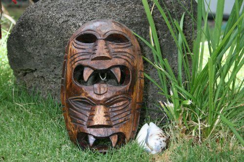 "FIJIAN TIKI MASK W/ 2 DEITIES - 8"" EVIL HUNTER - POLYNESIAN ART"