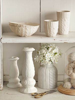 Knit-Patterned Ceramic Bowls - White Knitted Home Decorations - Country Living - love cable knit!