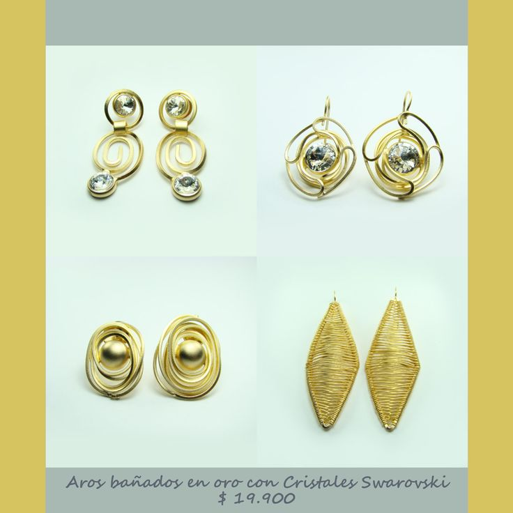 Aros bañados en oro con Cristales Swarovski.