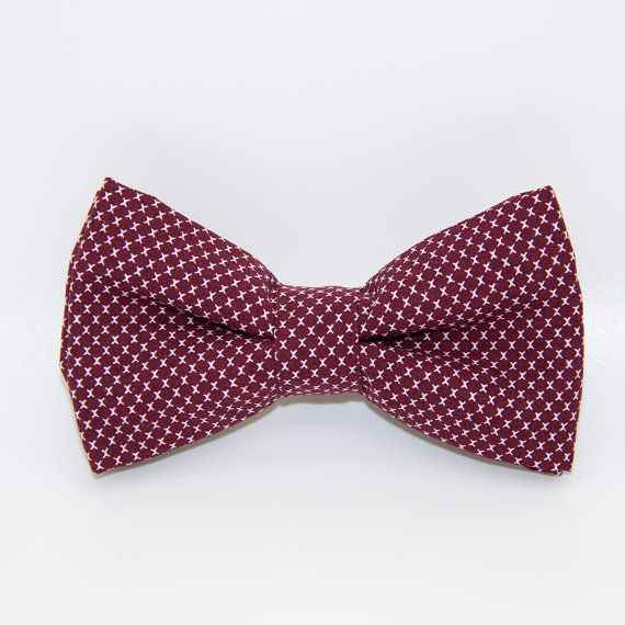 Barnabé bow tie / Bordeaux red and white bow tie / wedding bow tie / men accessories / suit accessories / french handmade / made in France / hipster / Noeud-papillon Barnabé / noeud-papillon rouge bordeaux et blanc / noeud pap mariage / noeud-papillon croque-monsieur