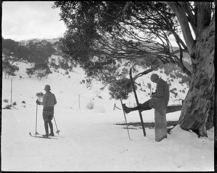 "Film party skiing on Hotel Kosciusko slopes, ca. 1925 (original envelope marked ""Mr Marks"", portraits incl. and a C & W cinema camera.) [Possibly the film ""Joe"", 1924), by Sam Hood"
