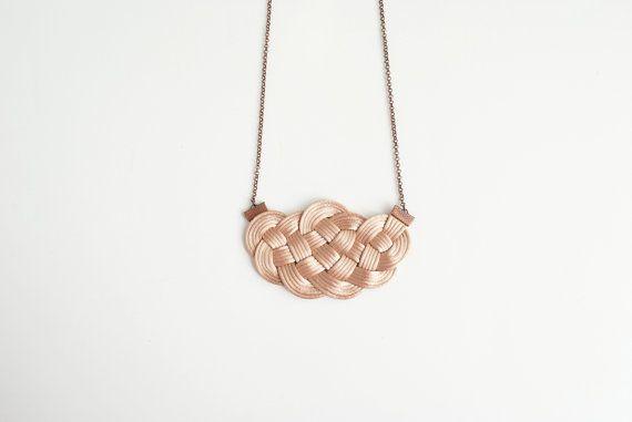 Big sailor knot necklace in beige satin cord nude by elfinadesign