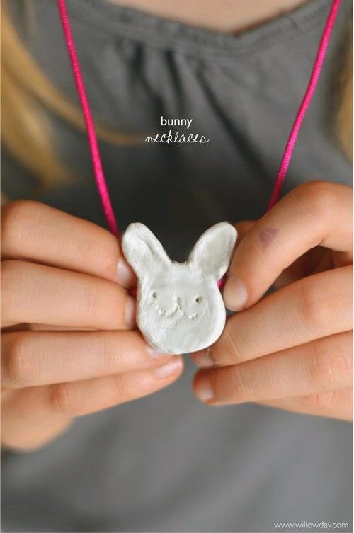 willowday: Clay Bunny Necklaces #easter craft for kids