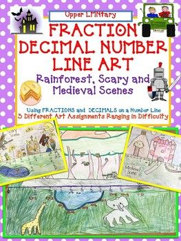 Fraction Decimal Number Line Art Students will design a scene by creating a number line and and dividing the number line into fractions and decimals. Then students will draw landmarks at specified fractions on the number line. Included: 3 Student Assignment sheets (rainforest, scary scene and medieval castle scene) 3 Student Checklists Photos of student samples CCSS Standards Poster to put on your bulletin board with students' work samples Can Be CREATIVE and FUN!